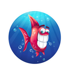 cartoon funny red fish vector image