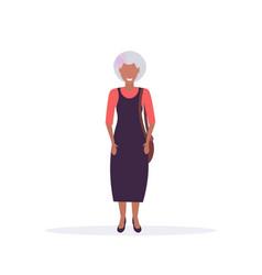 Casual mature woman standing pose smiling senior vector