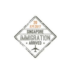Changi airport singapore isolated visa stamp vector