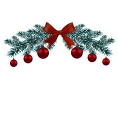Christmas card Two branches of a blue tree with vector image