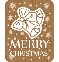 Christmas greening with bell on wood background vector