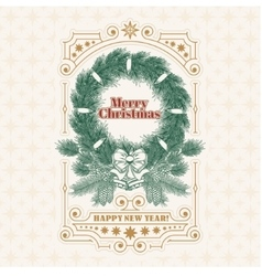 Christmas greeting card with fir wreath an vector image