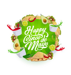 cinco de mayo mexican chili tacos nachos avocado vector image