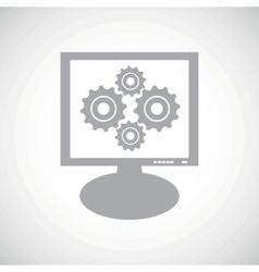 Cogs grey monitor icon vector
