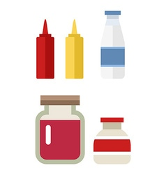 Color flat kitchen bottle set Sauce milk jam Flat vector