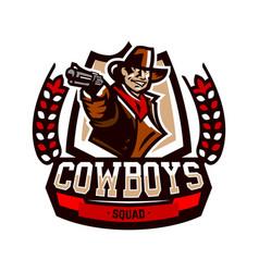 Colorful emblem logo cowboy holding a revolver vector