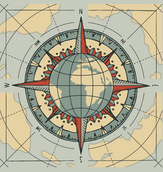 Compass wind rose and globe planet earth vector