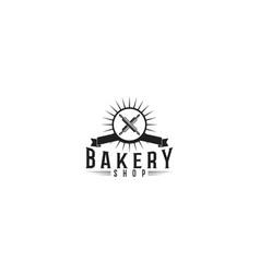 crossed rolling pin bakery logo designs vector image