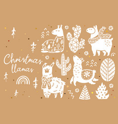 cute llamas alpacas cactuses and trees vector image