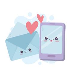 Cute smartphone and mail hearts love kawaii vector
