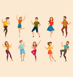Dancing people retro icons set vector