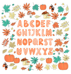 Decor alphabet color autumn color vector