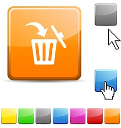 Delete glossy button vector