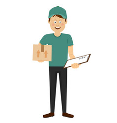 delivery boy with cardboard box and clipboard vector image