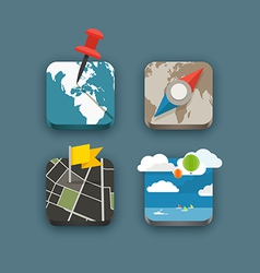 Different travel icons set vector image