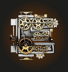 E letter with gears vector