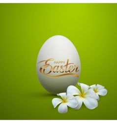 easter egg with holiday golden lettering vector image