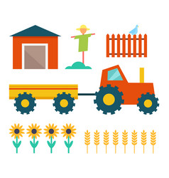Farm tractor and building vector