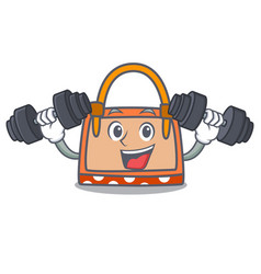 fitness hand bag character cartoon vector image