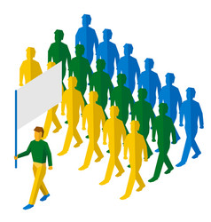 Flag bearer and a lot of people vector