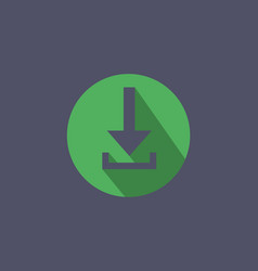 Flat download button icon vector