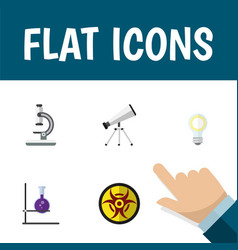 Flat icon science set of flask lightbulb scope vector