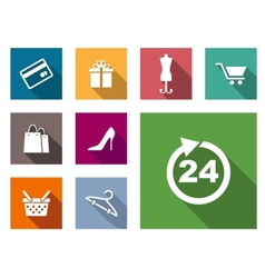 Flat shopping icons vector image vector image