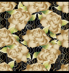 Floral striped seamless pattern golden roses vector