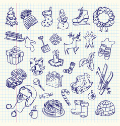 Freehand drawing winter holiday items vector