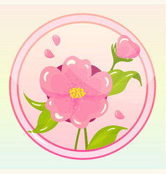 Game icon with camellia flower vector