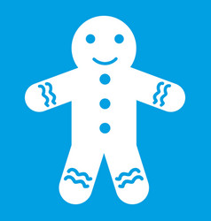 gingerbread man icon white vector image
