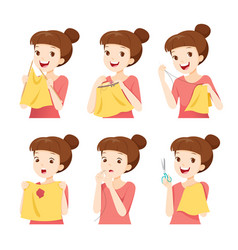 Girl sewing clothes by hand set vector