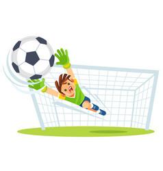 Goalkeeper catches ball kids sports vector