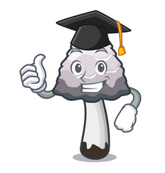 Graduation shaggy mane mushroom character cartoon vector