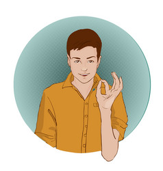 Guy showing approving gesture with his hands pop vector