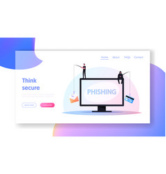 hacking credit card landing page template tiny vector image