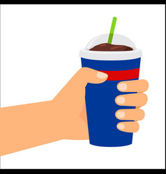 Hand holding plastic cup with cola vector