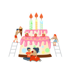 happy happy family cooking together a cake vector image