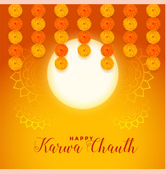 Happy karwa chauth festival card with full moon vector