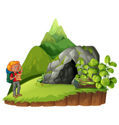 hiker hiking up the mountain vector image