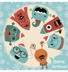 Hipster Retro Freaky Monsters Christmas Card vector