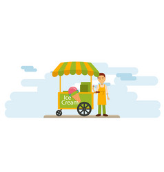 Ice cream vendor on downtown street vector