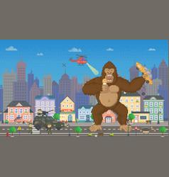 King kong in pixel-game layout design gorilla vector