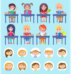 Lesson at school classmates sitting desks vector