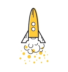 Line start up rocket icon vector image