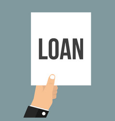 man showing paper loan text vector image
