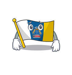 Mascot flag canary island scroll showing afraid vector