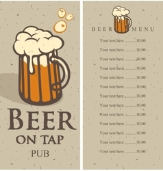 Menu with picture beer glass vector