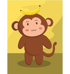 Monkey with Banana Cartoon vector