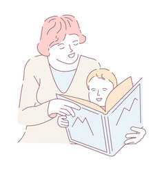 Mother doing homework with son reading alphabet vector